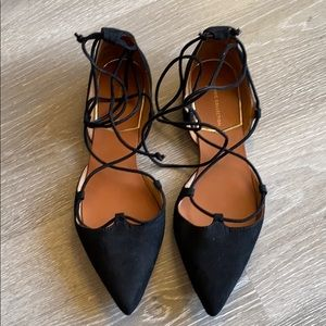 Zara suede lace up flats